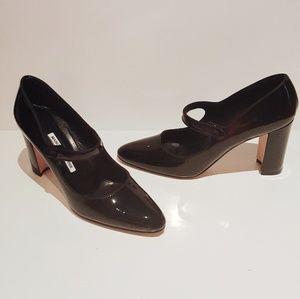 Manolo Blahnik Shoes - NWOT MANOLO BLAHNIK BLACK PATENT CAMPY MARY JANES